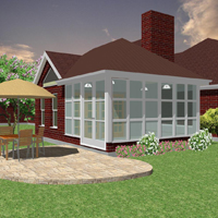 Traditonal Hip roof Sunroom Design Image