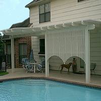 pool &patio w/ decorative patio cover and shade wall
