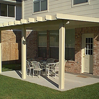 photo of Santa Fe style , Solid, insulated patio cover over concrete slab.