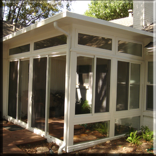 Composite Sun Room_all glass wall w/ sliding doors